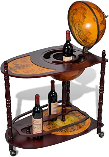 Galapara Globe Bar Cart Cabinet on Wheels, Wine Stand Wood Freestanding for Wine Spirits Beverage Stemware 30.3 x 17.7 x 39 inch L x W x H
