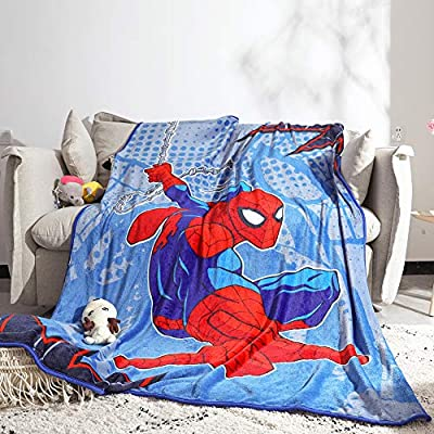 "FairyShe,Cartoon Avengers Queen Sheets for Kids, 60"" x 80"" Fleece Soft Warm Throw Blanket for Bed Couch Chair Fall Winter Spring Living Room"