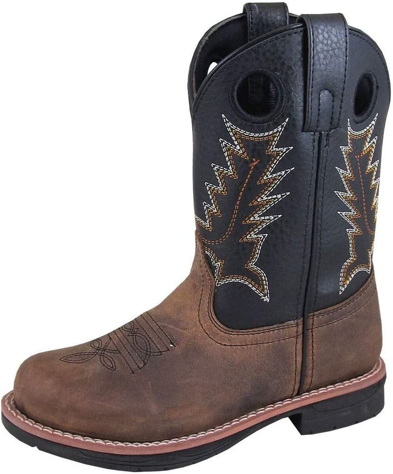 Smoky Mountain Childrens Boys Stampede Brown//Black Leather Cowboy Boots