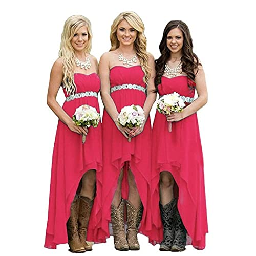 Veiai Women' Strapless High Low Bridesmaid Dresses Wedding Party Gowns