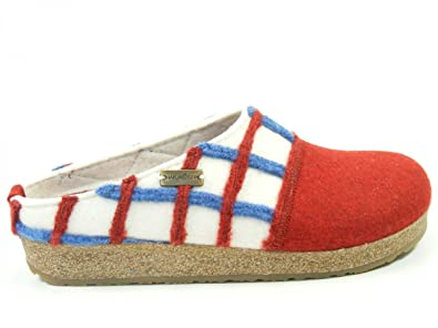 Haflinger Schuhe Damen Hausschuhe Pantoffeln Wolle Grizzly Web 731047, Schuhgröße:40;Farbe:Beige