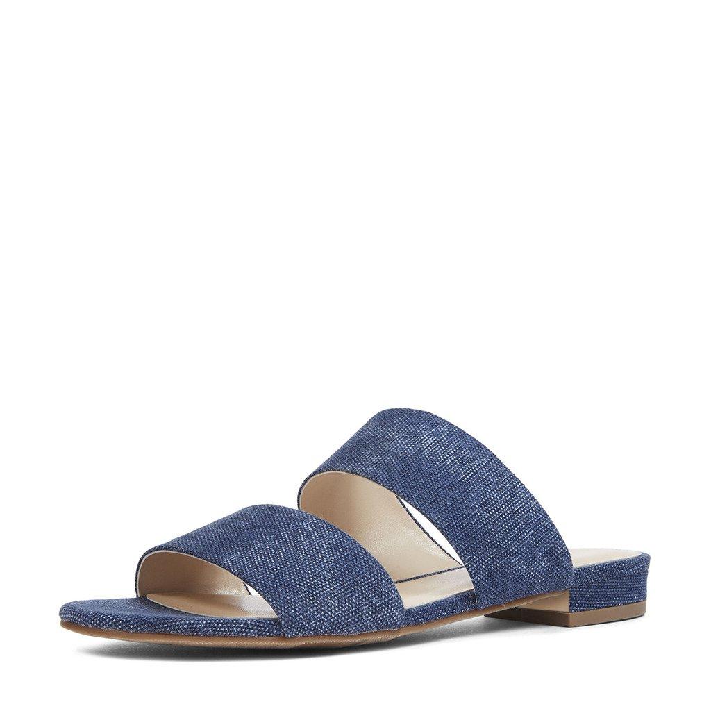 YDN Womens Casual Open Toe Sandals Block Low Heel Summer Flats Shoes Slip On B06XHBQGTV 15 B(M) US Denim Blue