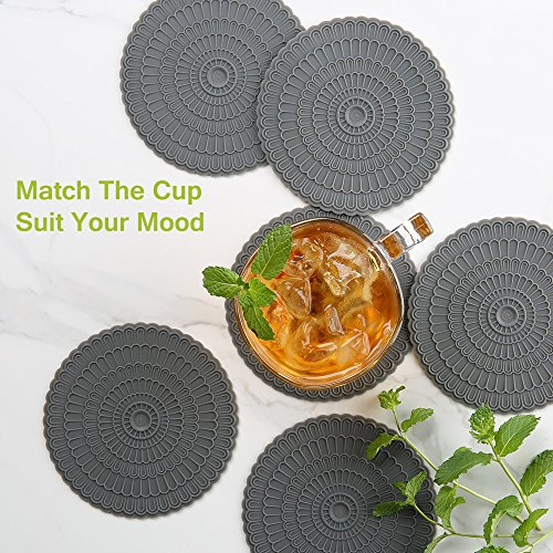 Large Product Image of Silicone Coaster for Drink set of 6 , Floral Pattern Design ,Protect Furniture From Water Mark & Damage - Good Grip.Deep Trap ,Large 4.92 By zanmini (gray)
