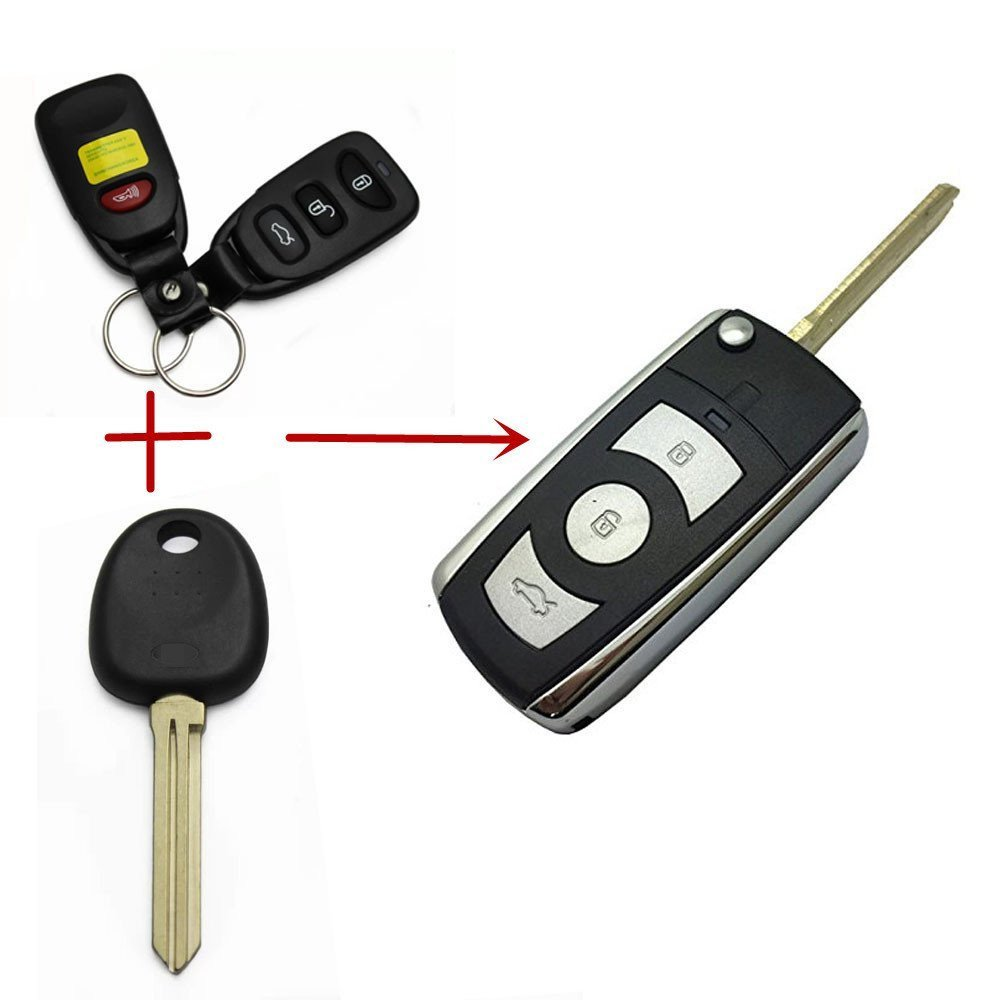 Replacement Folding Flip Key Case for Hyundai Elantra Sonata Santa Fe Keyless Entry Remote Key Fob Cover No Chip For Kia Key Fob 3 Button+Panic