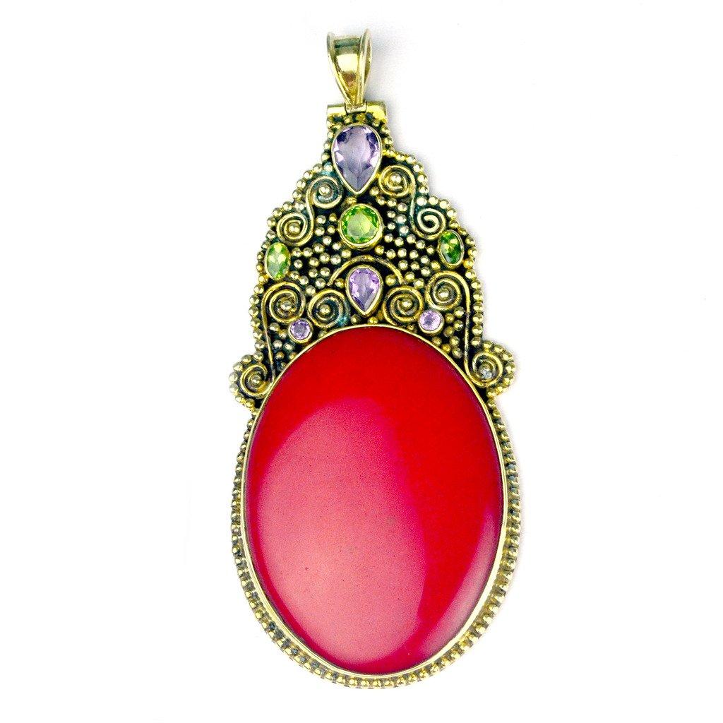 Crystalcraftindia Coral /& Amethyst /& Peridot gemstone Brass Gold plated Pendant jewelry 42.27g