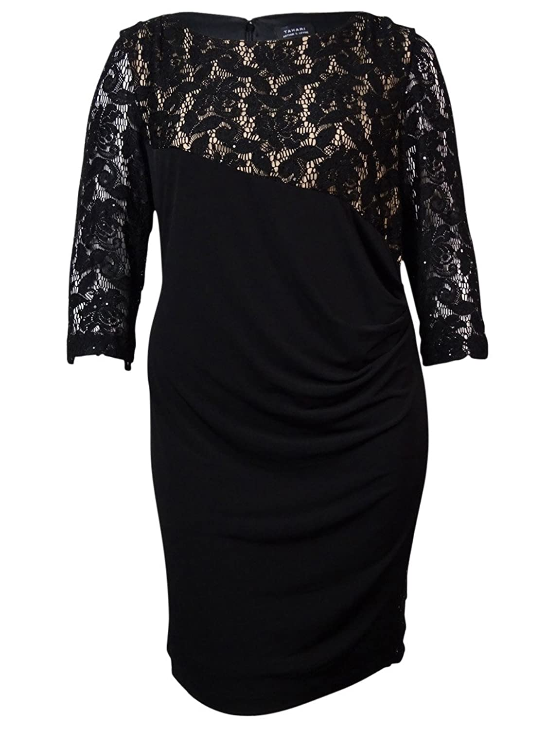 Tahari Women's Faux Wrap Sequin Lace Overlay Jersey Dress