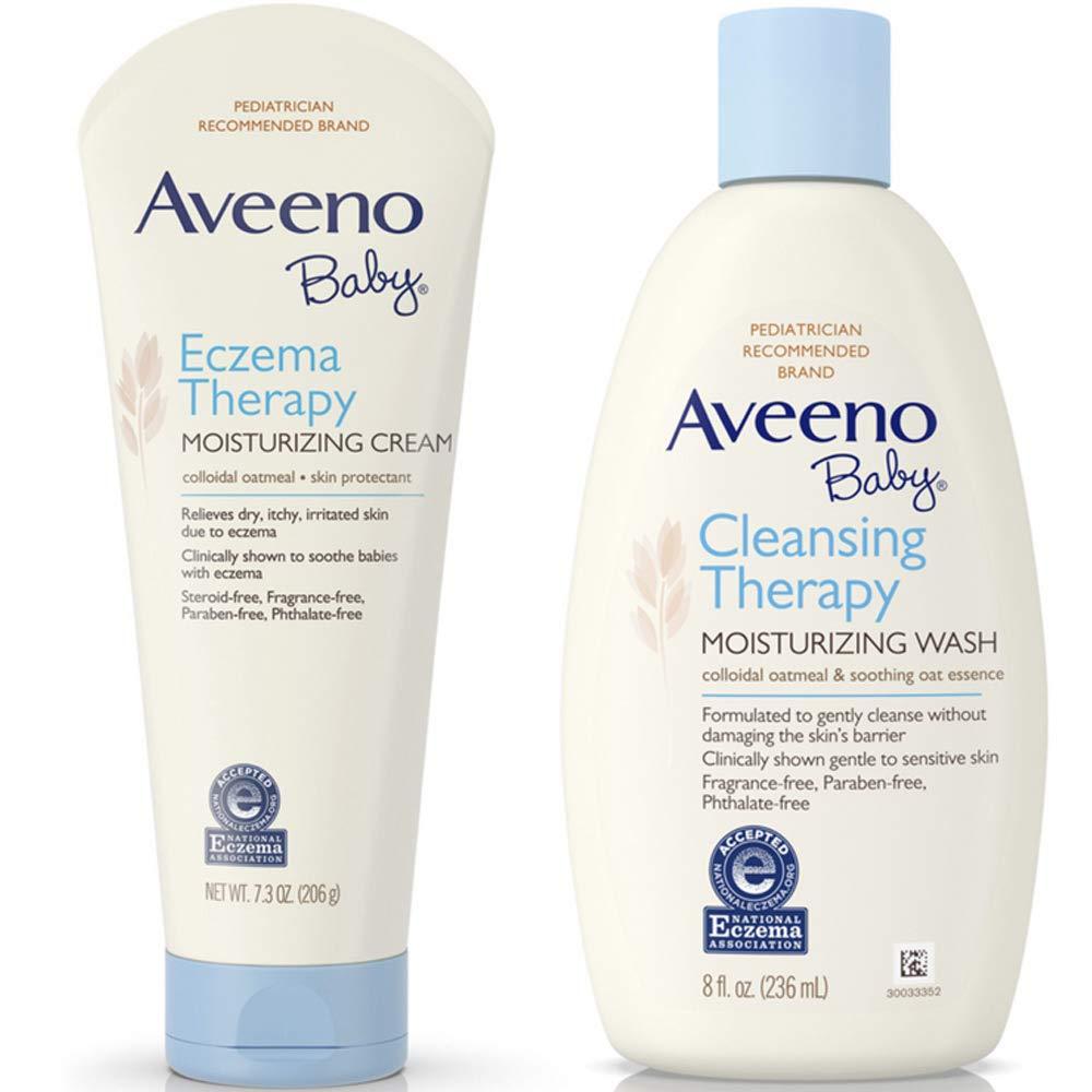 Aveeno Baby Cleansing Therapy Moisturizing Wash For Sensitive Skin 8 oz & Aveeno Baby Eczema Therapy Moisturizing Cream For Dry Skin 7.30 oz 1 ea