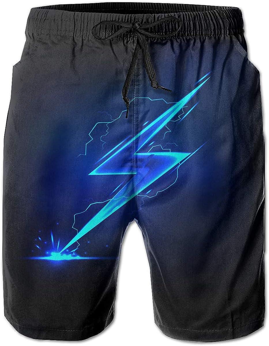 Blue Flash Lightning Beach Shorts Simple Mens Beach Pants Adults Surf Board Trunks Home Leisure Trousers