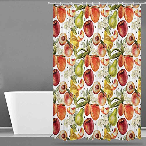 VIVIDX Hotel Style Shower Curtain,Peach,Harvest Time in Organic Country Garden with Pears Apricots Blossoms Generous Nature,Bathroom Decoration,W36x72L Multicolor