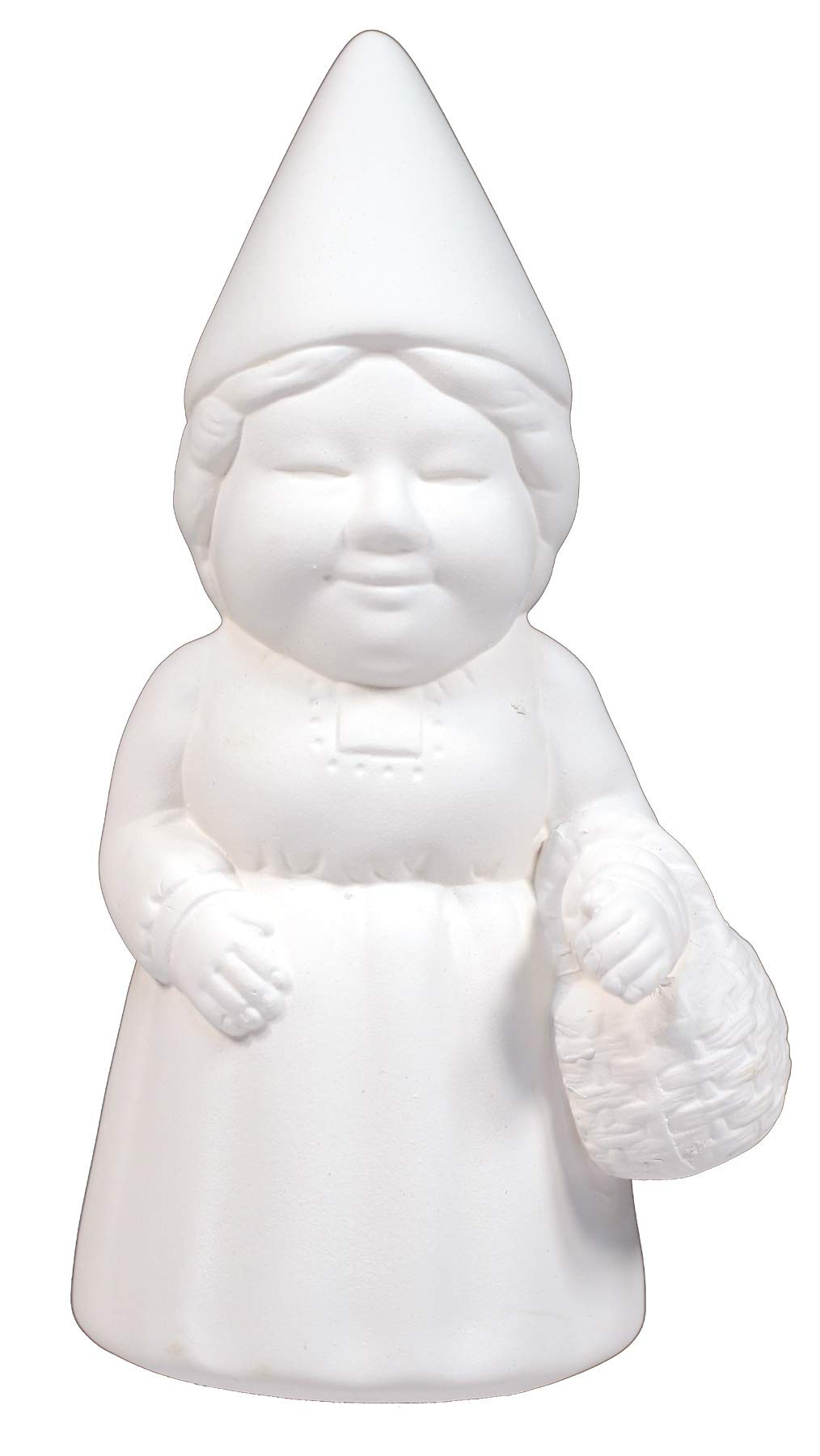 Creative Hobbies Female Garden Gnome -Case of 6 Pieces - 8 inch Tall Unfinished Ceramic Bisque Gnome-y, with How to Paint Your Own Pottery Booklet