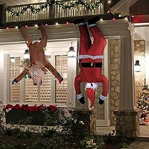 Amazon Com Inflatable Hanging Santa 6 5ft And Reindeer
