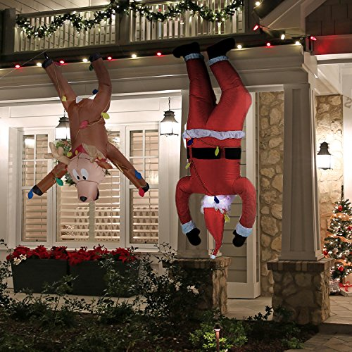 Inflatable Hanging Santa 6.5ft and Reindeer 4ft - Set of 2 - Fun Airblown for Christmas