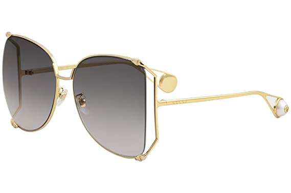5f25b06588187 Image Unavailable. Image not available for. Color  Gucci GG0252S Sunglasses  002 Gold ...