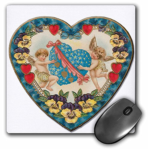 3dRose LLC 8 x 8 x 0.25 Inches Mouse Pad, Heart Shaped Victorian Valentine With A Blue Heart and Cupids - (mp_169995_1)
