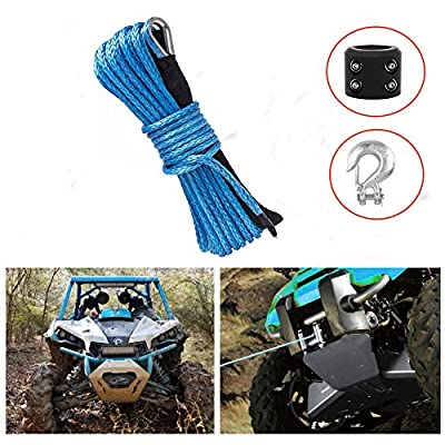"""Synthetic Winch Rope 50'x1/4"""" Snap Hook and Rubber Stopper Strong Durable Dyneema Cable Blue Winch Rope 7800lbs with Sheath for atvs Winches ATV UTV SUV Truck Boat Ramsey Car Motorcycle Samlighting"""