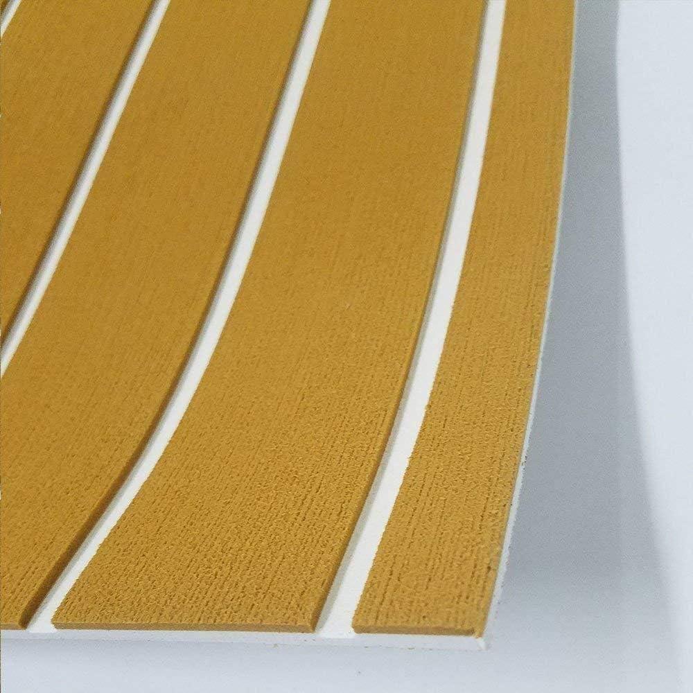 240CMx900x6MM Dorado con rayas blancas 35.4X 94.5 Piso de espuma Eva Forma de teca Eva Floor Autoadhesivo Mate para barco de yate Oro con rayas blancas