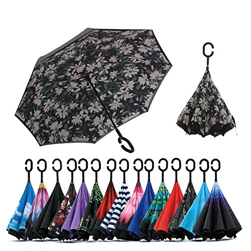 Spar. Saa Double Layer Inverted Umbrella with C-Shaped Handle, Anti-UV Waterproof Windproof Straight Umbrella for Car Rain Outdoor Use (Lily)