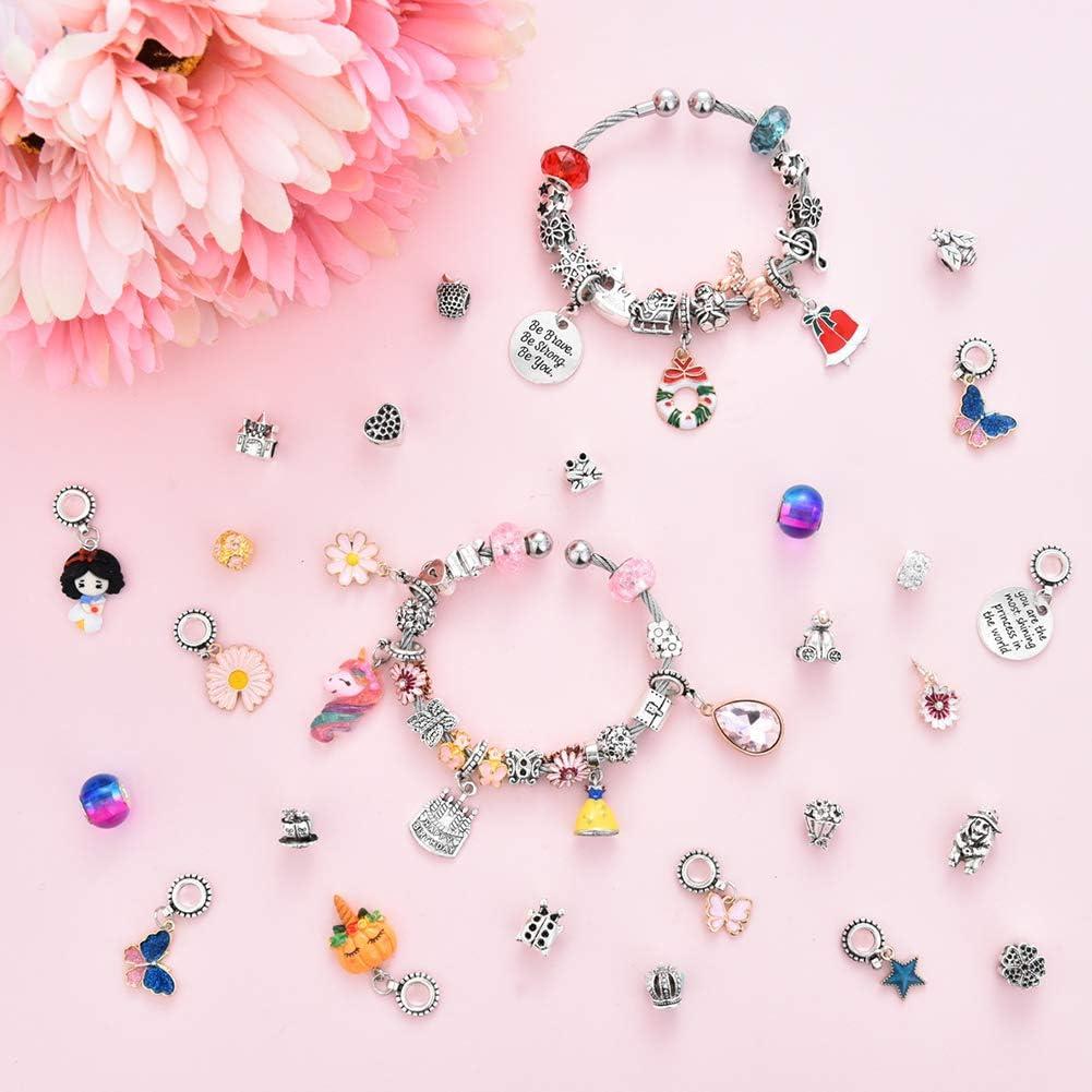 Fairytale Princess Themed Jewelry Making Supplies Bead Chain Jewelry Gift Set for Girls Teens DIY Charm Bracelet Making Kit