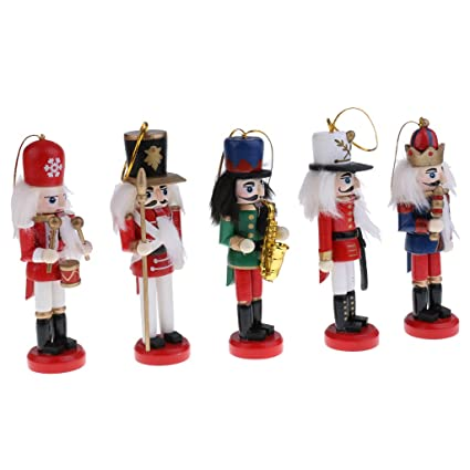 monkeyjack 5pcs 12cm christmas decorations wooden nutcracker hold saxophone puppets figures pendants christmas ornaments home office