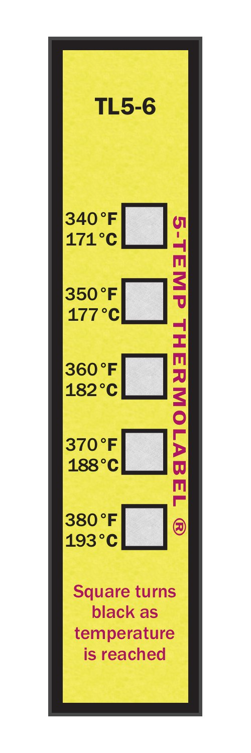 5-Temp Thermolabel 340-380°F Temperature Label Pack of 16 Labels