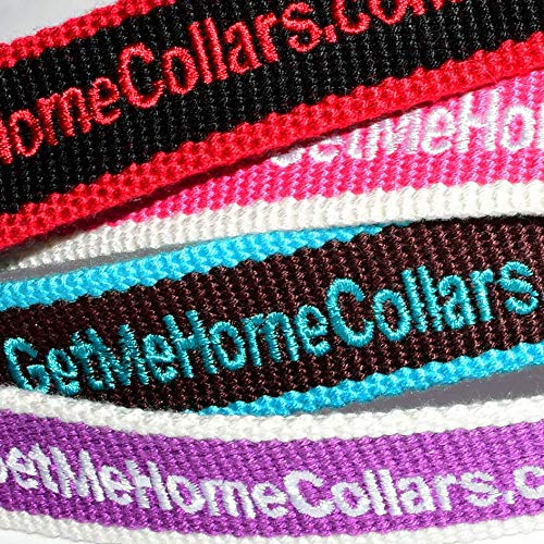 Personalized Pet Collar, Custom Dog Collars Embroidered w/Pet Name & Phone Number - Black & Red, Brown & Blue, Purple & White, Pink & White, 4 Adjustable Sizes: XSmall, Small, Medium, Large