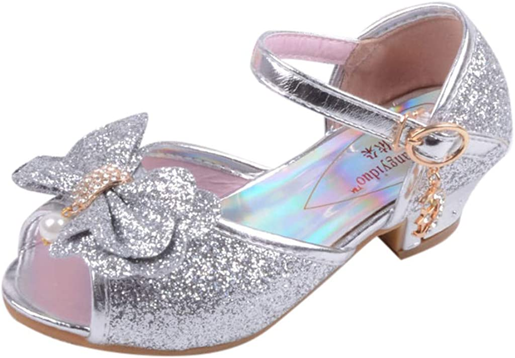 Baby Sandals FAPIZI Kids Girls Pearl Crystal Bling Bowknot Shoes Crystal Sequins Gowns Single Princess Shoes Silver
