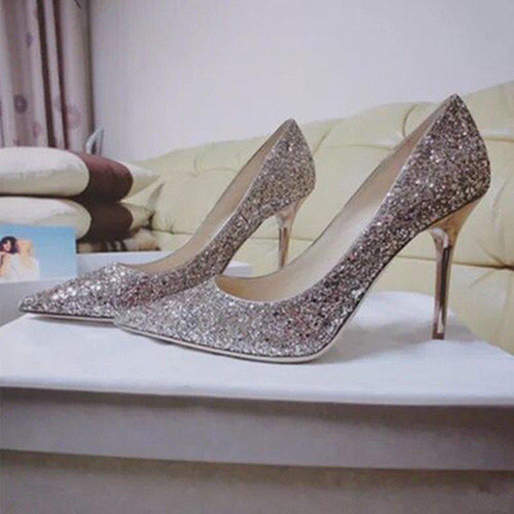 L Y Spitze Spitze Spitze Hochhackige Schuhe mit Farbverlauf Pailletten mit Einzelnen Schuhen eca503