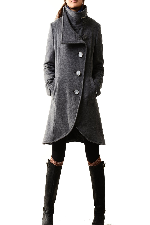 Women's Crystal Buttoned Cashmere Coat Dark Grey