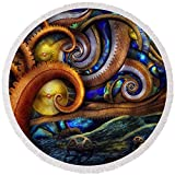 Pixels Round Beach Towel With Tassels featuring ''Steampunk - Starry Night'' by Mike Savad
