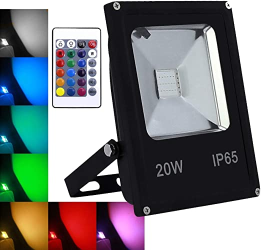 wolketon 20W RGB Foco LED proyector Lámpara Exterior IP65: Amazon ...