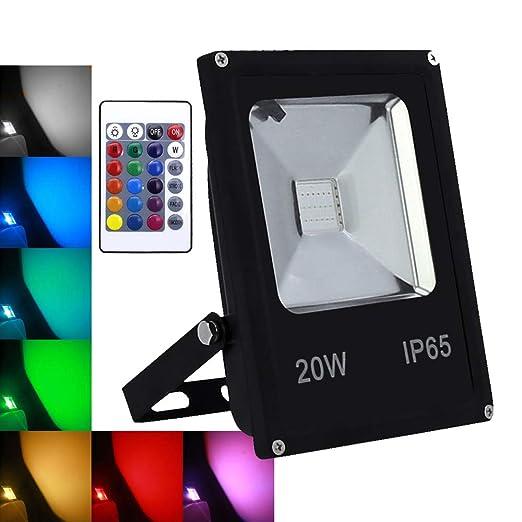 wolketon 20W RGB Foco LED proyector Lámpara Exterior IP65: Amazon ...