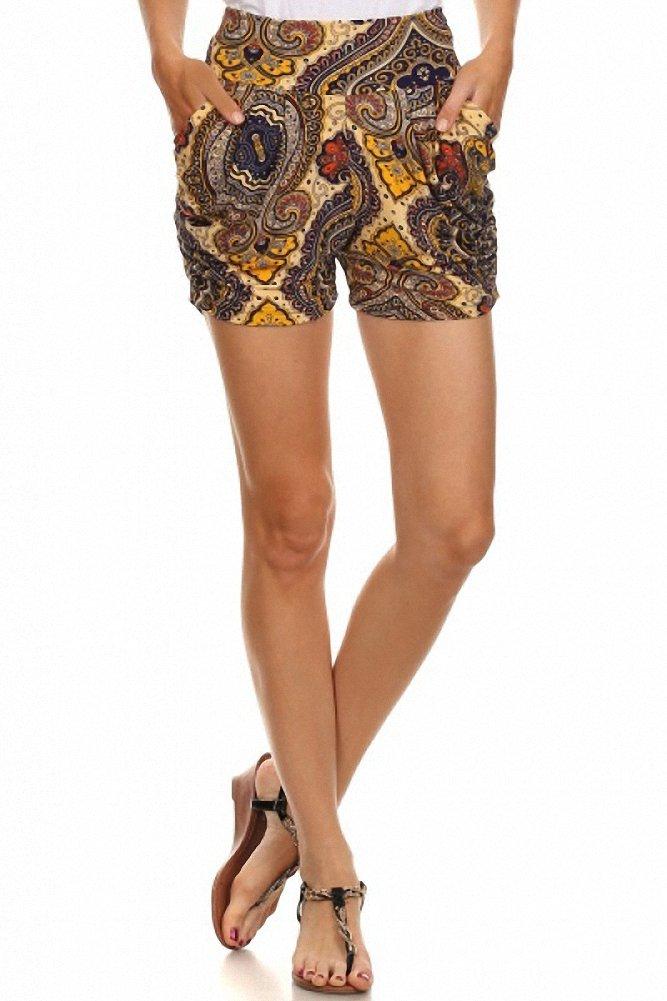 Sassy Apparel Women's Melete Print Stylish Harem Style Summer Shorts (Large/X-Large, Multi) by SASSY APPAREL (Image #1)