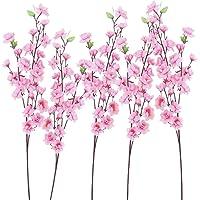 BESPORTBLE 6 Stuks Kunstbloem Takken Faux Zijde Kersenbloesems Stem Roze Perzik Bloemen Voor Thuis Tuin Restrant Hotel…