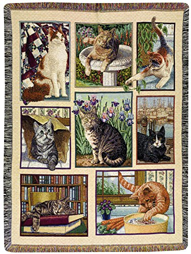 Manual Tapestry Throw with Fringe, Kitty Korner, 47 X 60-Inch