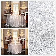 """PartyDelight Sequin Tablecloth, Sequin Tablecloths Square Round Tablecloth, Silver, Round, 50"""""""