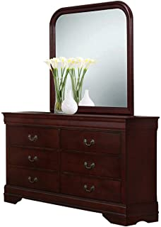 Delicieux Roundhill Furniture Isola Louis Philippe Style Fully Assembled Wood Dresser  And Mirror, Cherry Finish