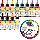 US Cake Supply by Chefmaster Airbrush Cake Color Set - The 12 Most Popular Colors in 2.0 fl. oz. Bottles with Color Mixing Wheel