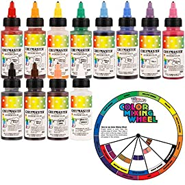 U.S. Cake Supply Airbrush Cake Color Set - The 12 Most Popular Colors in 2.0 fl. oz. Bottles with Color Mixing Wheel… 5 Airbrush Colors are highly concentrated edible airbrush food colors with superior strength and are the brightest and truest colors available Colors come in sealed bottles with easy-to-use twist-top dispenser bottles Achieve an endless spectrum of magnificent colors with these intermixable airbrush colors