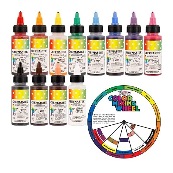 U. S. Cake supply airbrush cake color set - the 12 most popular colors in 2. 0 fl. Oz. Bottles with color mixing wheel… 1 airbrush colors are highly concentrated edible airbrush food colors with superior strength and are the brightest and truest colors available colors come in sealed bottles with easy-to-use twist-top dispenser bottles achieve an endless spectrum of magnificent colors with these intermixable airbrush colors