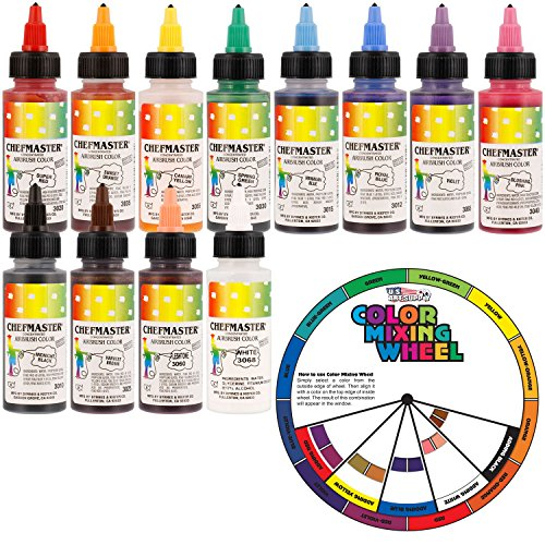 US Cake Supply by Chefmaster Airbrush Cake Color Set - The 12 Most Popular Colors in 2.0 fl. oz. Bottles with Color Mixing Wheel by U.S. Cake Supply
