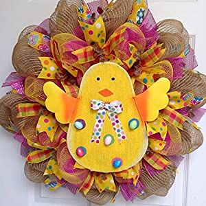 Adorable Easter Chick Deco Mesh Wreath 15