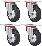 "Online Best Service 3"" Swivel Caster Wheels Rubber Base with Top Plate & Bearing Heavy Duty , Pack of 4"