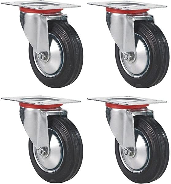 """3/"""" Heavy Duty Swivel Caster 4 pcs Wheels Rubber Base with Top Plate Bearing-NEW"""