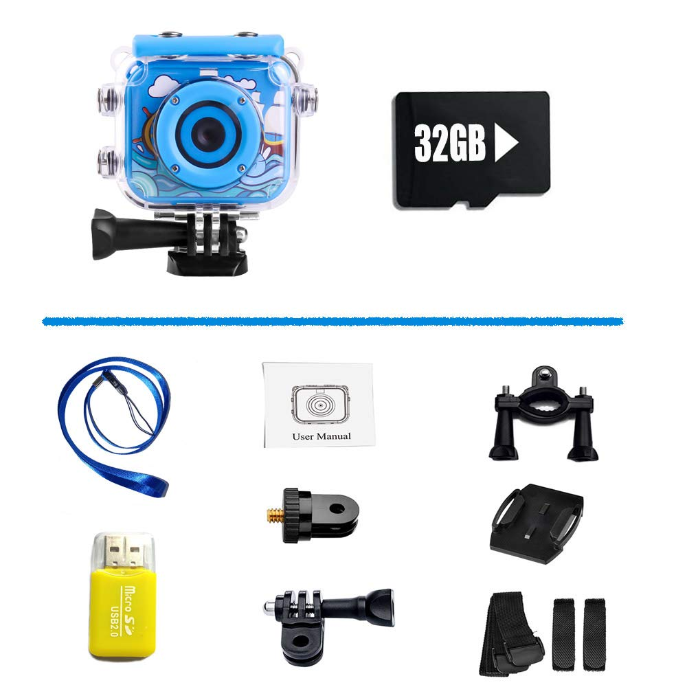 denicer Waterproof Action Kids Camera with 2.0 Inch LCD Display 12MP HD Underwater Camera Camcorder with 32G SD Card for 4-12 Boys and Girls Festive Gift-Blue by denicer (Image #4)