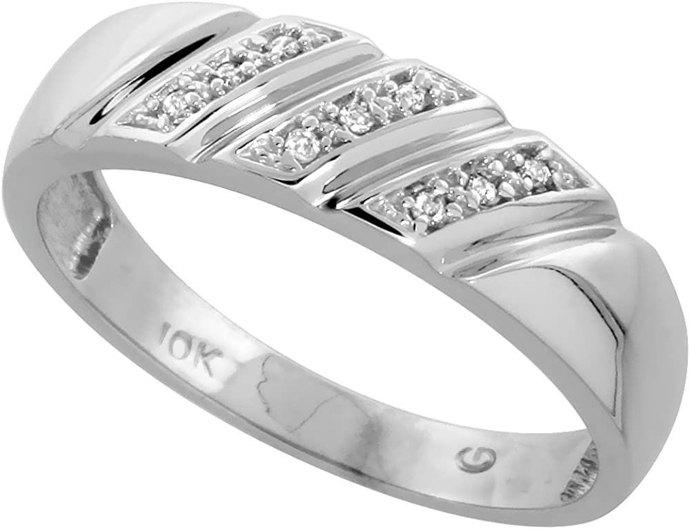 1//4 inch 6mm wide 10k White Gold Mens Diamond Wedding Band Ring 0.03 cttw Brilliant Cut