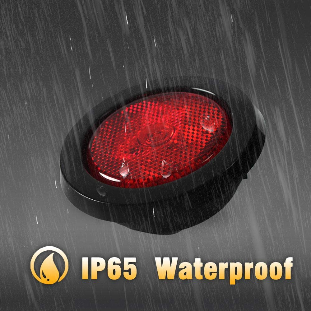 Sealed Grommet Flush Mount 4 LEDs Light with Reflective Lens NOVALITE 5X 2.5/'/' Round Red Trailer LED Side Marker Lights DOT Certified Truck RV Waterproof Universal 12V