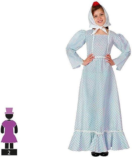 Cisne 2013, S.L. Disfraz de 2 Piezas para Carnaval Infantil niña de Chulapa Madrileña Color Azul y Blanco Talla 5-6 años de niño y niña. Cosplay niña Carnaval.: Amazon.es: Hogar
