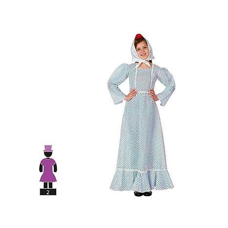 Cisne 2013, SL Disfraz de 2 Piezas para Carnaval Infantil niña de Chulapa Madrileña Color Azul y Blanco Talla 5-6 años de niño y niña. Cosplay niña ...