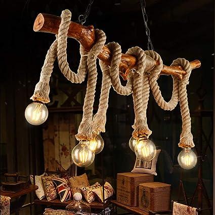 YCLED Lámparas de Madera de época Industriales 6 Luces ...