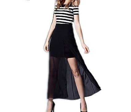 Eloise Isabel Fashion Shoulder Fenda Inferior Vestido Da Senhora de Manga Curta Em Camadas de Chiffon